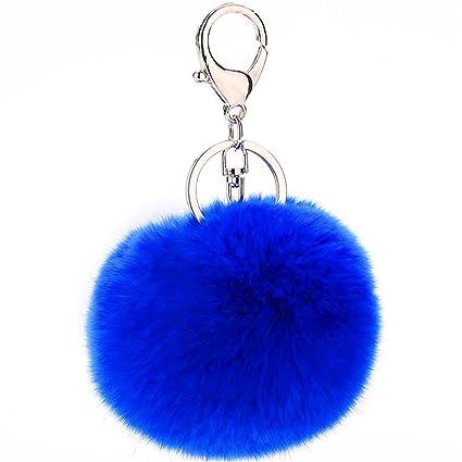 0d0535f663c8 JewelBeauty Imitated Rabbit Fur Ball Pom Pom Key Chain Faux Fur Keychain  with Plush for Car