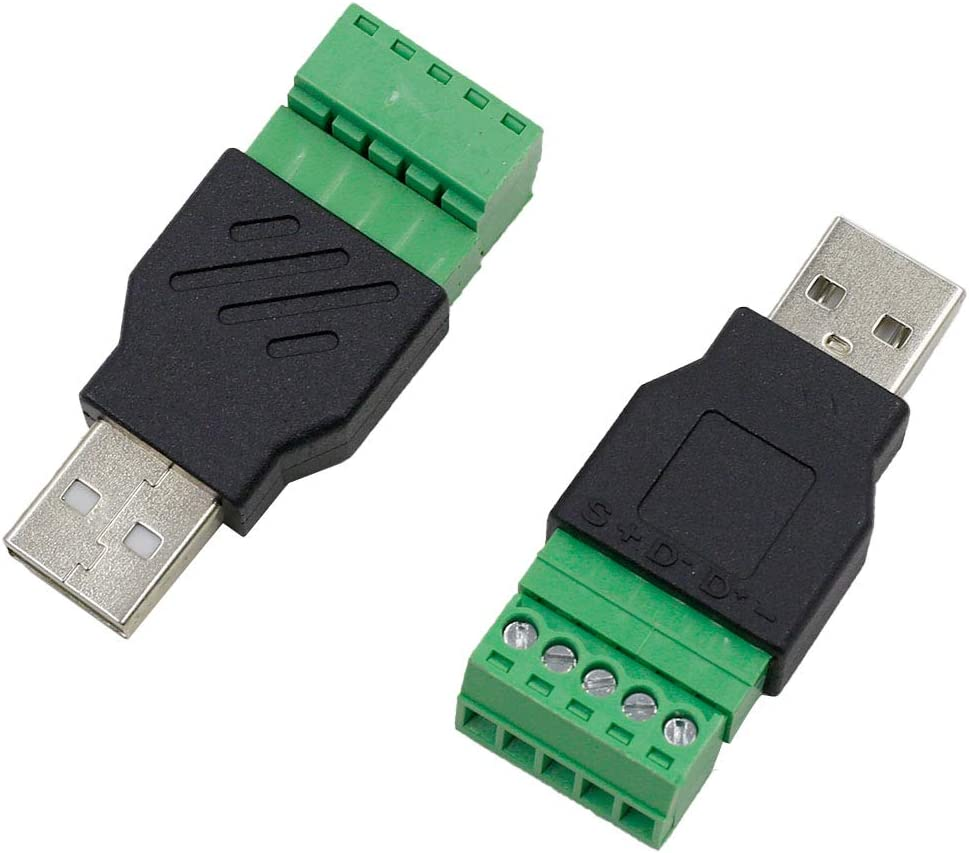 USB 2.0 A Female Solderless Connector Converter ZXHAO 2pcs USB 2.0 A Screw Terminal Block Connector 5 Pin//Way Quick Link Pluggable Type Adapter 300V 8A