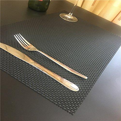 SD 6er Set, Grau 90156 hochwertige Tischsets / Platzset 30X45CM, gewebter PVC untersetzer-Gitte,Platzmatten Tischmattenr (6er Set, Grau)