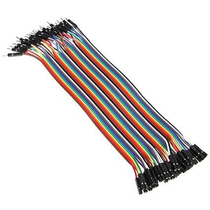 Ganvol 40 Piezas 20 cm Macho a Hembra sin Soldadura Flexible Breadboard Jumper Cable de Alambre