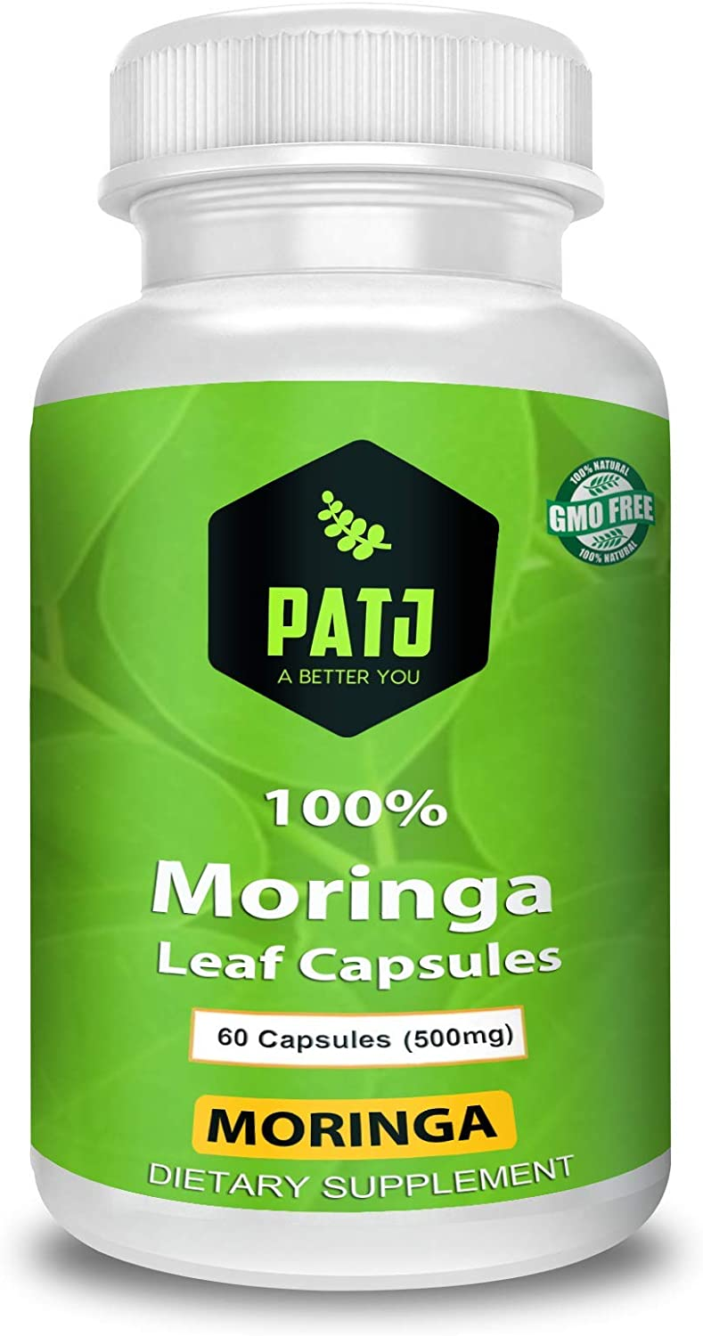 Organic Moringa Capsules, 1000mg Per Serving, 60 Counts, Green Superfood Supplement, Powerful Antioxidant That Repairs, Protect and Nourish Your Body Cells - GMO Free Made in Jamaica