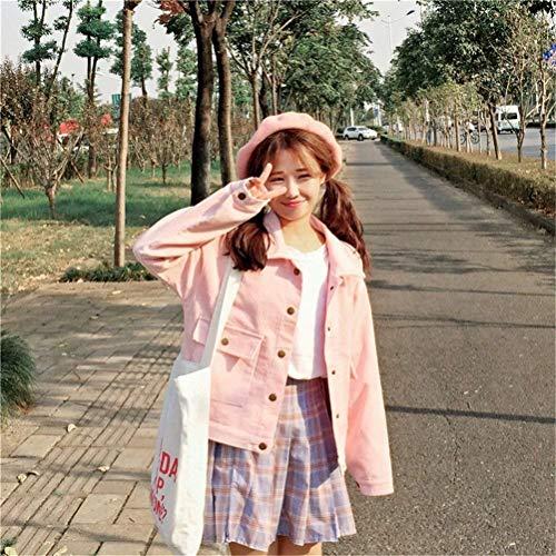 A Single Casuale Glamorous Outerwear Vintage Autunno Sciolto Fashion Semplice Coste Velluto Rosa Eleganti Haidean Bavero Giacca Lunga Manica Invernali Donna Breasted Giubbotto Cappotto S6fXq
