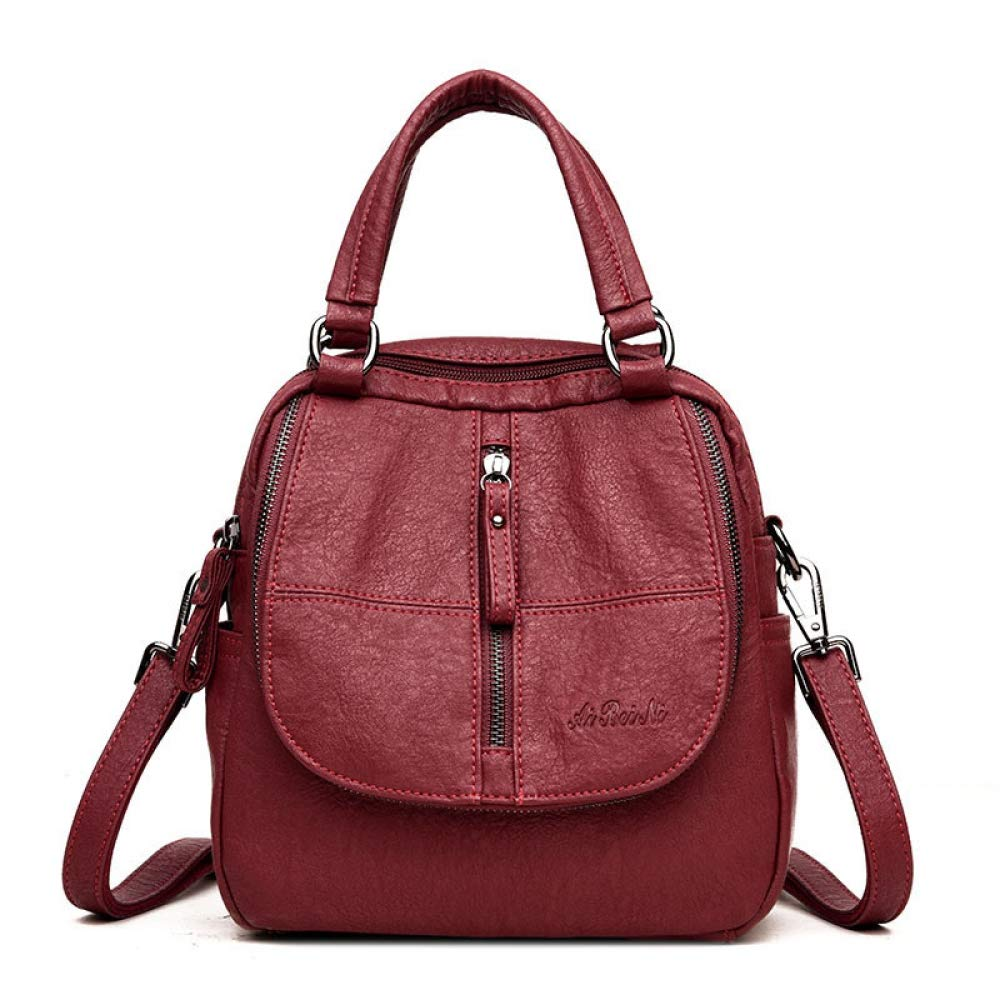 Wine red NDYE Multifunctional Women Backpack Female Back Pack Small School Backpacks for Teenage Girls Bags Sac