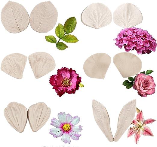 14 Juego De Flor Grande Molde de Silicona Rosa Margarita Sugarcraft Molde de Polímero Arcilla Fimo