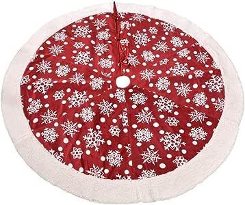 ZHAOLV Falda de árbol de Navidad de 120 cm Ronda Roja y Blanca ...