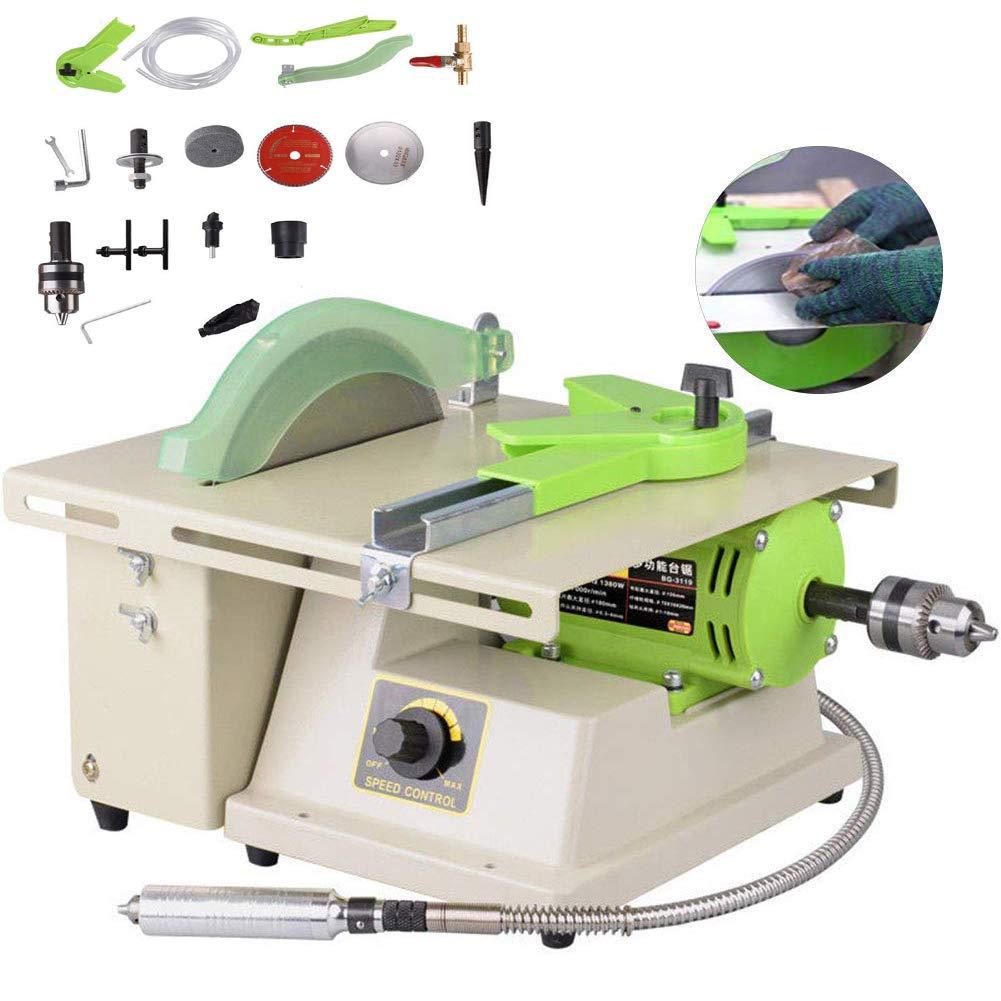 TOPCHANCES Multifunction Jewelry Rock Polishing Buffer Machine Jewelry Grinder Mill Polishing Machine Jewelry Table Bench Polisher Machine Set 220V (1380W 500-7000r/min)