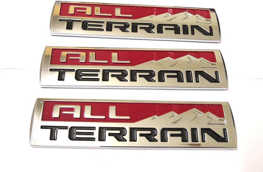 3pcs Matte Black All Terrain Emblems Engine Race Motor Swap Badge Replacement for Trunk Hood Door for GMC Sierra 3500