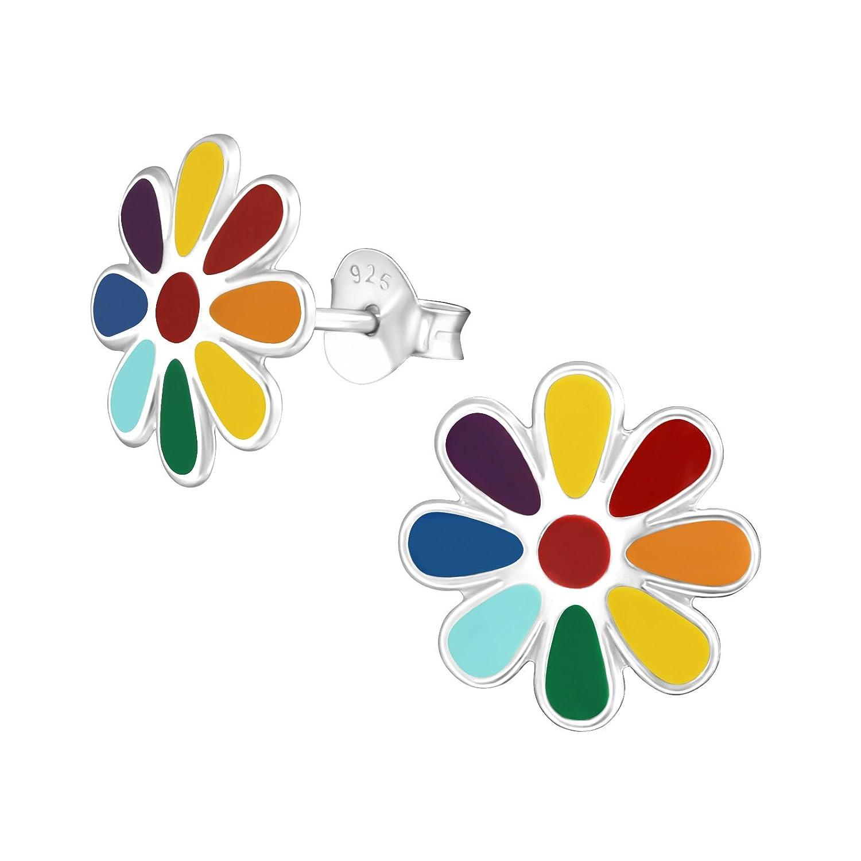 Laimons Mädchen Kinder-Ohrstecker Kinderschmuck Blume Bunt groß Sterling Silber 925 OS2110