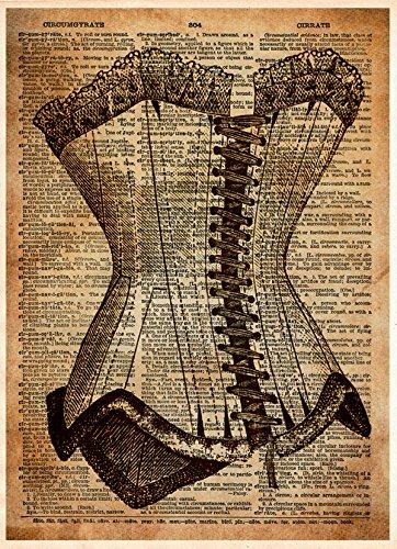 Vintage corset art print, Burlesque art, victorian steampunk,y