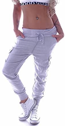 b5d6844a26bb Style-Station Cargohose Damen Cargo Jeans Hose Boyfriend Baggy Aladin  Taschen Grau  Amazon.de  Bekleidung