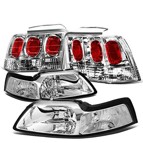 For Ford Mustang Pair of Chrome Housing Clear Corner Headlight + Chrome Altezza Style Tail Light