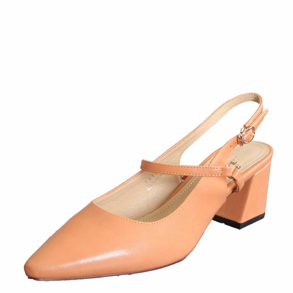 GTVERNH Damenschuhe 7Cm High Sommer Heels Sommer High Wild Leer Schnallen Flache Schuhe Frauen mit Dicken Sandalen. d36713