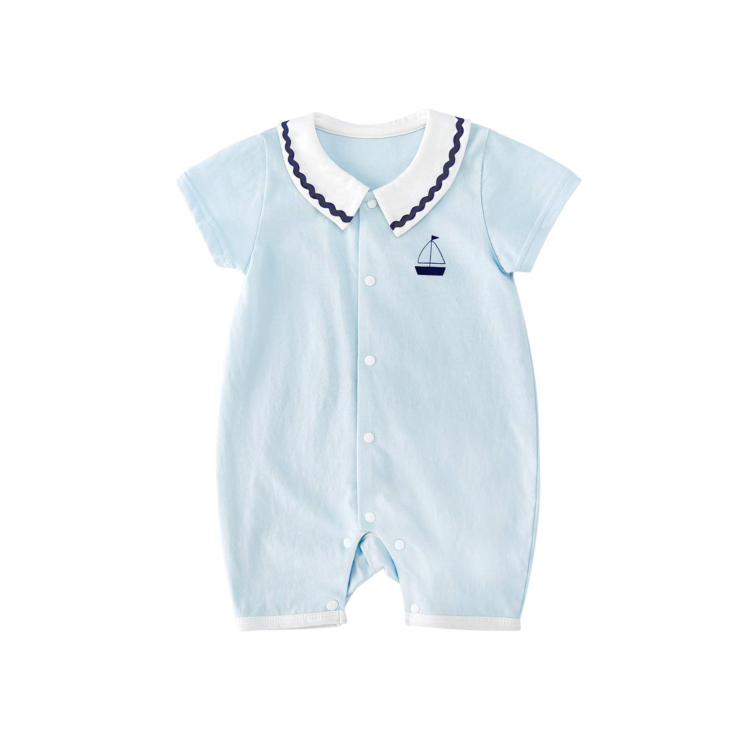 pureborn Baby Boys Cotton Romper Summer Clothes Sailor Beach Outfit 0-24 Months