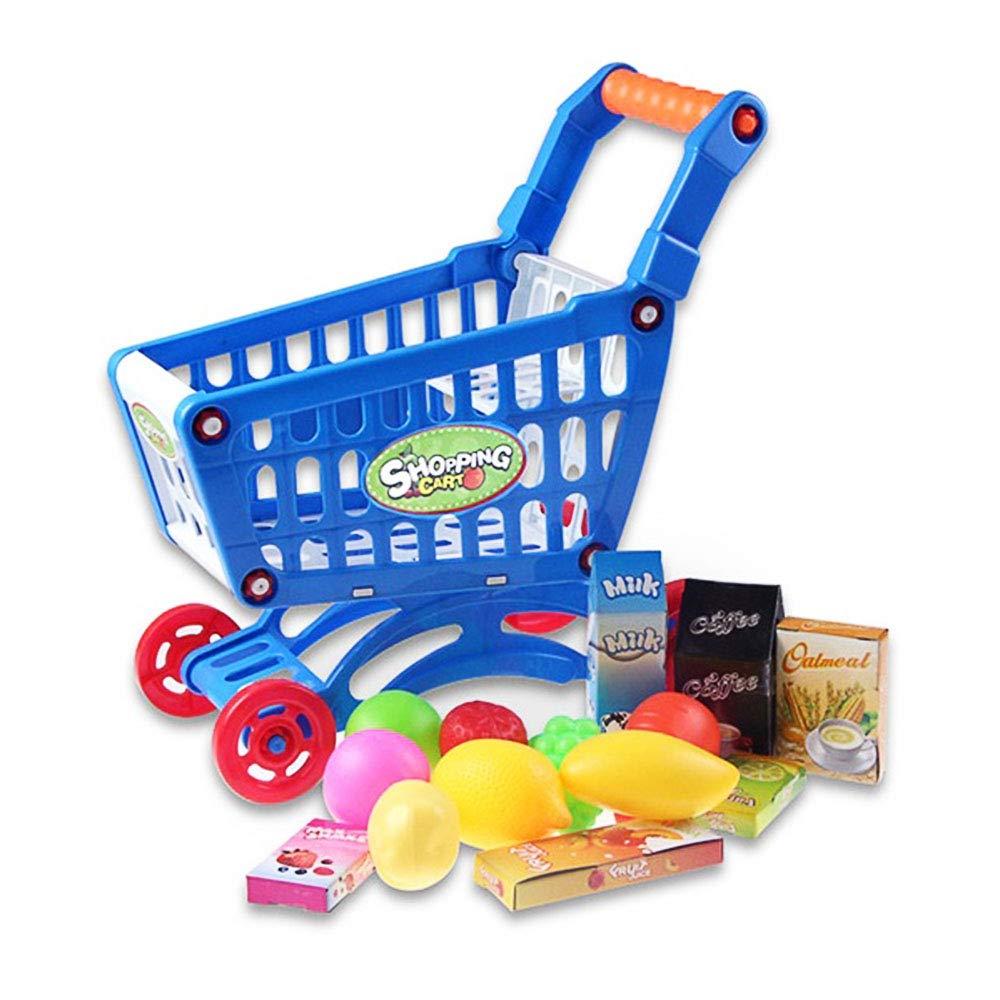 Ohomr Kids スーパーマーケット ミニショッピングカート 食料雑貨 食料品 プレイハウス おもちゃセット ブルー   B07GF89NQT