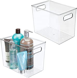 mDesign Plastic Bathroom Storage Bin Tote with Handles for Organizing Soaps, Shampoos, Conditioners, Body Wash, Serums, Oils, First Aid, Vitamins, Supplements, Hair Styling Accessories, 2 Pack - Clear
