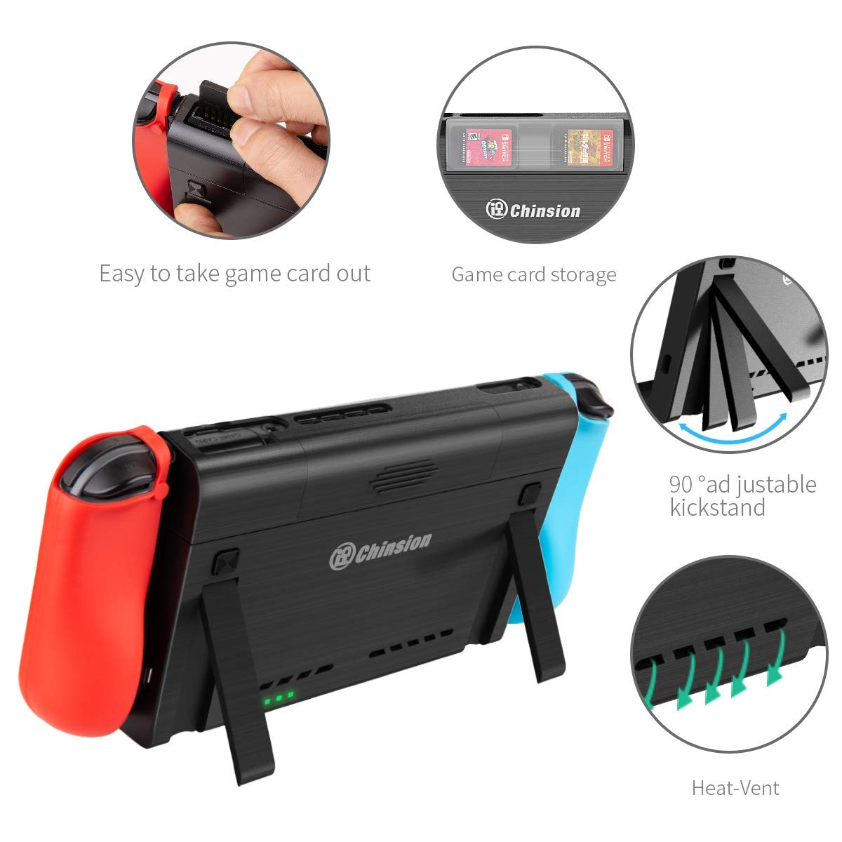 Battery Charger Case for Nintendo Switch, Portable Switch Battery Case with 10, 000 Mah Extended Travel Power Bank, Kickstand and USB-C Charging Cable by NSBCC (Image #3)
