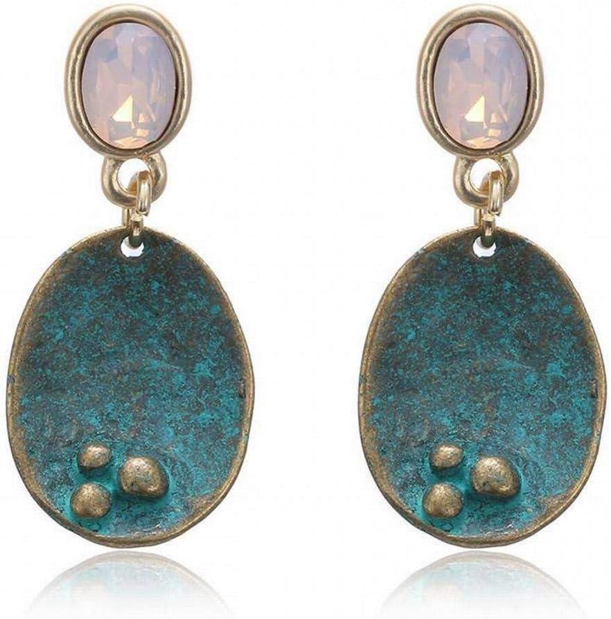 WOZUIMEI Pendiente Colgante de Perla Pendiente de Botón Pendiente de Aleación Vintage Geometría con Incrustaciones de Piedras Preciosas Pendientes Pendientes de Cristal para Mujeres