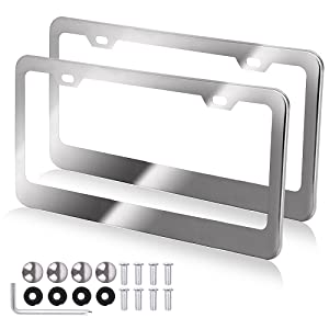 OCPTY License Plate Covers License Plate Frame 2 Pack Protect Plates Replacement fit for Any Standard US Plates