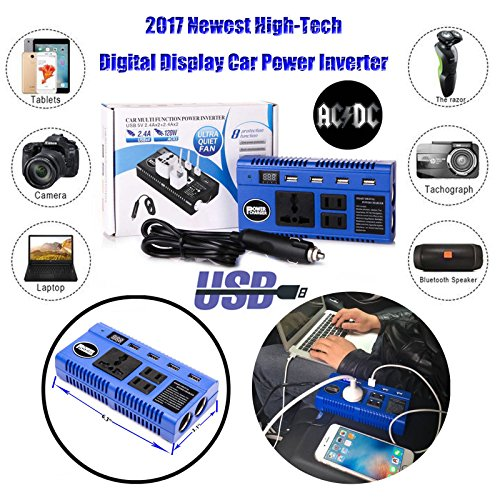 Car Power Converter Inverter 200W DC 12V to AC 110V Adapter 3 Outlets + 4 USB Charging Ports + 2 Cigarette Lighter Socket + Cig Plug Cord for Tablets Laptops Smart Phones - 250w Electronic Transformer