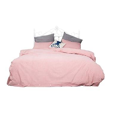 Kiss Tell Linen Duvet Cover Queen, Washed Wrinkle Hotel Quality Girls Duvet Cover Set 1 Duvet Cover 2 Pillowcases (Queen, Pink)