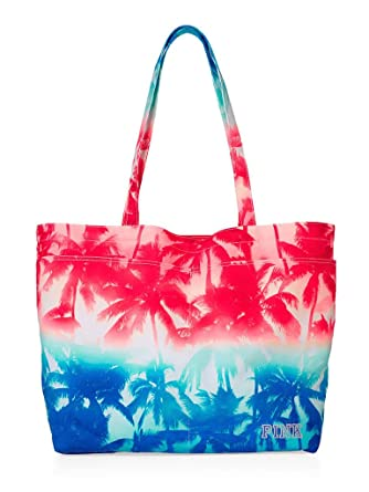 Amazon.com | Victoria's Secret PINK Tote Bag Beach Bag Palm Trees ...