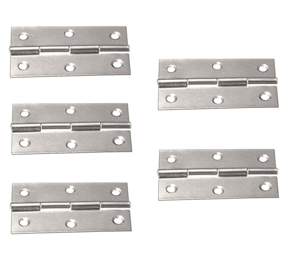 SummerHome 5Pcs 3'' 6 Mounting Holes Stainless Steel Boat Marine Cabinet Drawer Door Butt Hinges With Screws