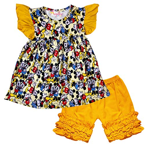 Boutique Baby Infant Girls Disney Mickey Minnie Mouse Cartoon Character Top Capri Set Mustard 3-6 Months/3XS