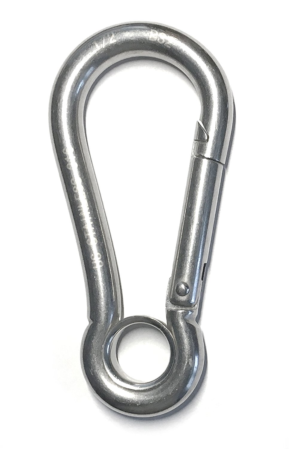 Stainless Steel 316 Spring Hook with Eyelet Carabiner 1/2'' (12mm) Marine Grade