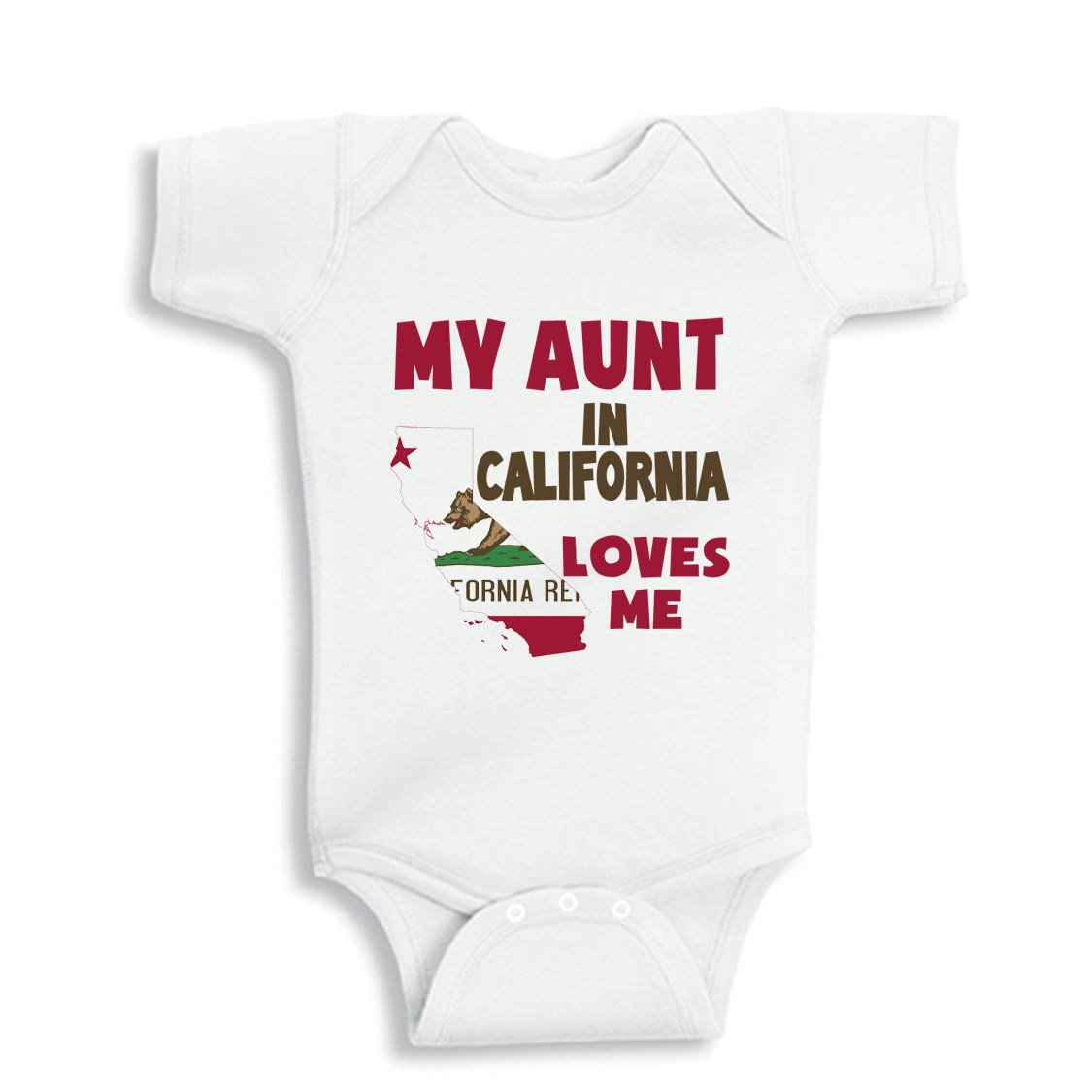 NanyCrafts Baby's My Aunt in CALIFORNIA Loves me baby Bodysuit 12M White