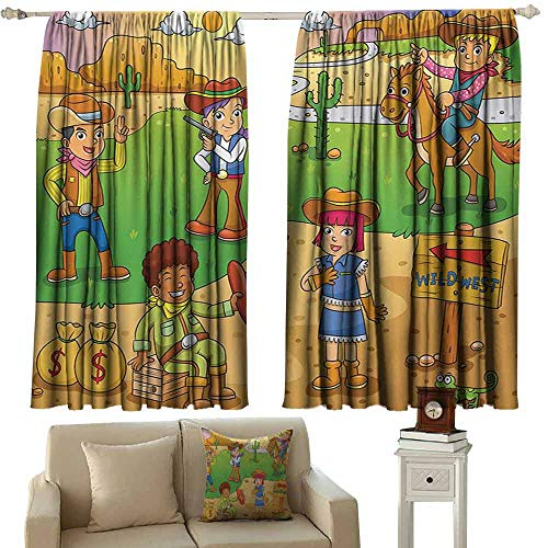 DuckBaby Windshield Curtain Cartoon Image of Child Cowboy Cute Wild West Cartoon North America Culture Kids Design Light Blocking Drapes with Liner W55 xL39 Brown Green