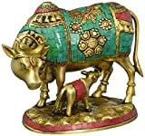 AONE INDIA Nandi Kamdhenu Cow & Baby Statue - Brass Calf Nandi Sculpture -Gemstone Handwork- Mother Baby Shower Home Decor Gift + Cash Envelope (Pack Of 10)