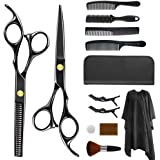 AUGNORYE 13 Pcs Hair Cutting Scissors Kit, Professional Barber Scissors, Thinning Shears, Combs, Clips, Cape, Home…