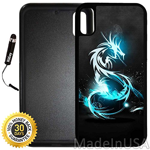 Custom iPhone X Case (Neon Blue Dragon) Edge-to-Edge Rubber Black Cover with Shock and Scratch Protection | Lightweight, Ultra-Slim | Includes Stylus Pen by INNOSUB