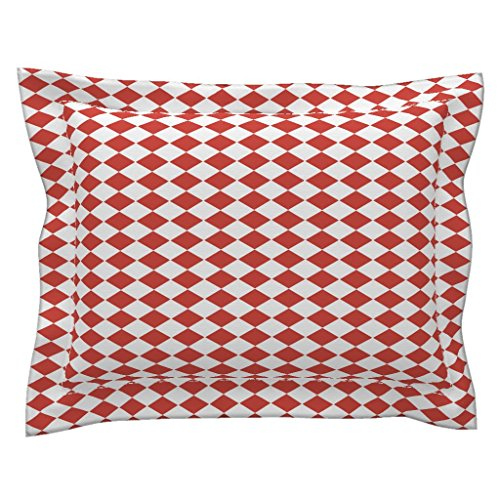 Roostery Harlequin Euro Flanged Pillow Sham Harlequin Diamonds ~ Red and White ~ Small and Sideways by Peacoquettedesigns Natural Cotton Sateen Made - Boudoir Pillow Flanged
