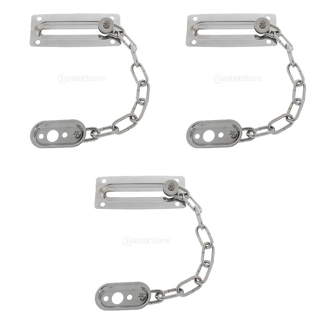 Gazechimp 3pcs Chaînette de Porte pour Sécurité Maison Chambre Métal