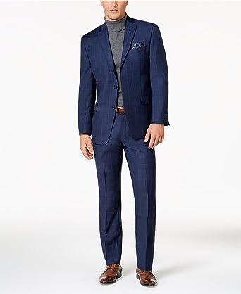 162c19d8e11 MICHAEL KORS Men s Slim-Fit Windowpane Wool Stretch Blue Suit at Amazon Men s  Clothing store