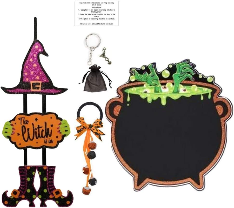 Halloween Decoration Bundle Witch Dangle Sign with Door Handle Bells and DIY Witch Charm Keychain kit Give as a Gift This Halloween Season or use in Your Home, Office, School (The Witch is in)
