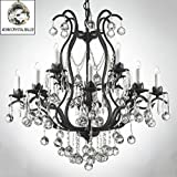 Swarovski Crystal Trimmed Chandelier! Wrought Iron Crystal Chandelier Chandeliers Lighting Dressed W/ Crystal Balls H36″ W36″