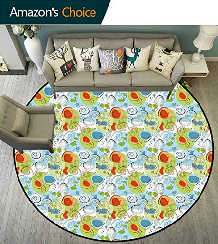 - Funky Round Rug with Fringe,Whimsical Fun Pattern with Random Swirls Spirals Color Spots and Little Heart Shapes Stain Resistant & Easy to Clean,Multicolor,D-59