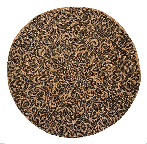 HF by LT Elizabeth Printed Round Jute Rug, 5', Durable, Sustainable, Hand Woven and Machine Stitched, Dove Grey Fine Sisal Rug