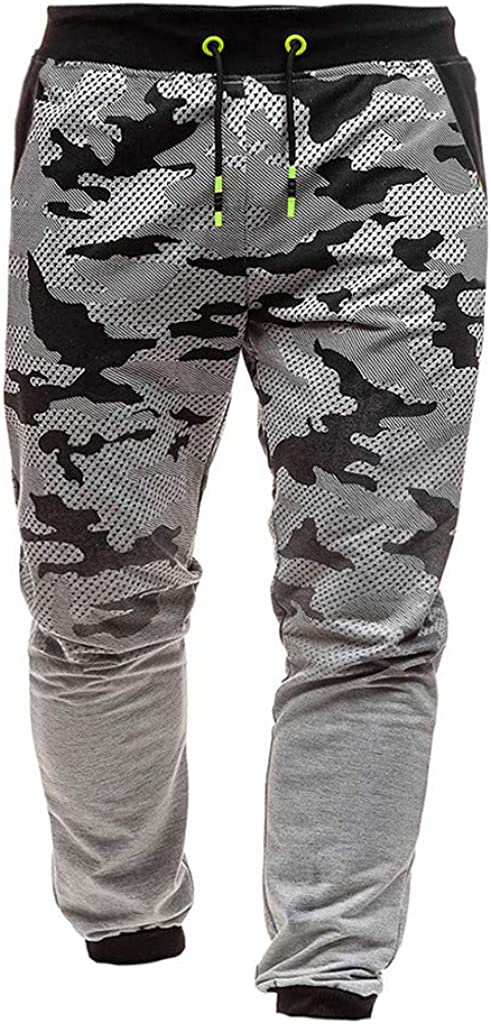 TTOOHHH Mens Camouflage Outdoor Sport Pants Slim Fit Printed Trousers Running Joggers Sweatpants