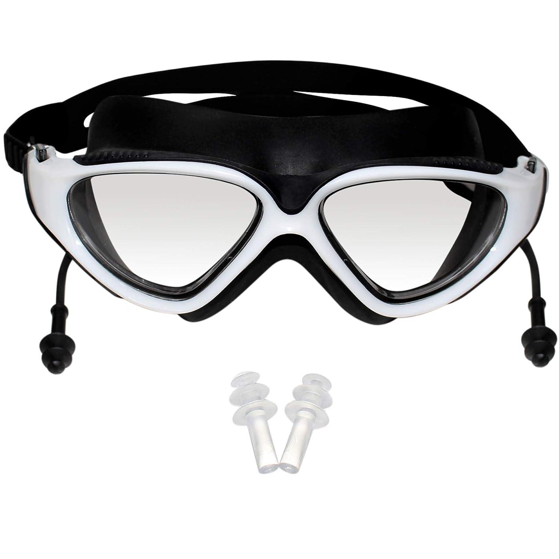 Bezzee-Pro Gafas de Natación con Tapones de Oídos Integrados - Gafas de Nado con Estuche y Tapones de Oídos Trialtron Anti Empañante Protección UV Gafas ...