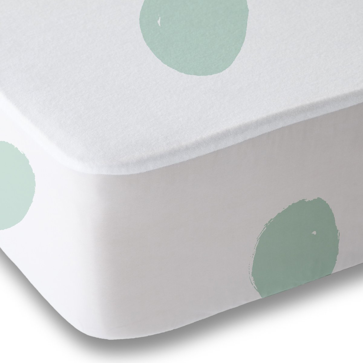 Seafoam Green Polka Dot Fitted Crib Sheet Baby Bedding, White and Mint Amadora Designed Concepts SHBSFDOT