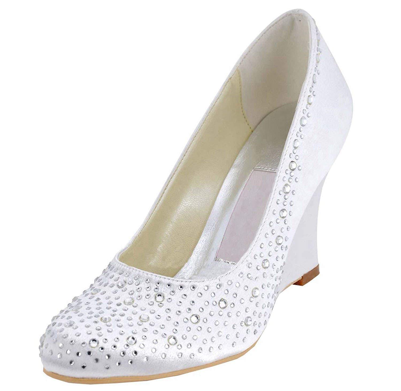 ZHRUI Talons Hauts en Satin de Mariage pour Femmes (Couleuré   blanc-9cm Heel, Taille   5.5 UK)