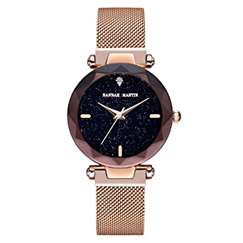 Hannah Martin Small Dial Citizen Quartz Starry Sky Magnetic Ladies Watch for Thanksgiving Gift (Rose