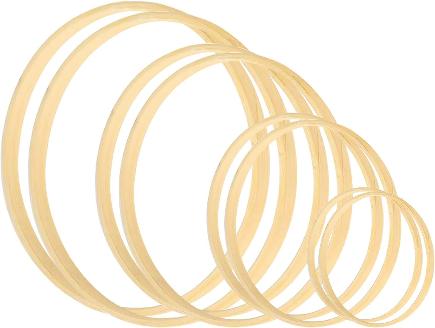 12 Pieces 6 Sizes Wooden Bamboo Floral Hoop Set Macrame Craft Rings DIY Decor