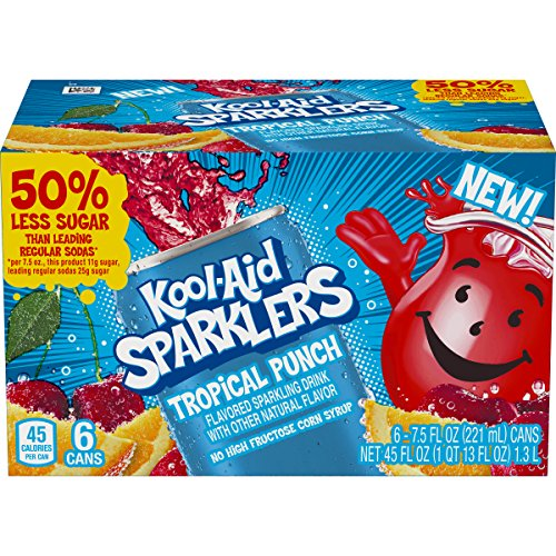 Kool Aid Sparklers Tropical Punch Drink (7.5 oz Cans, 4 Packs of 6)