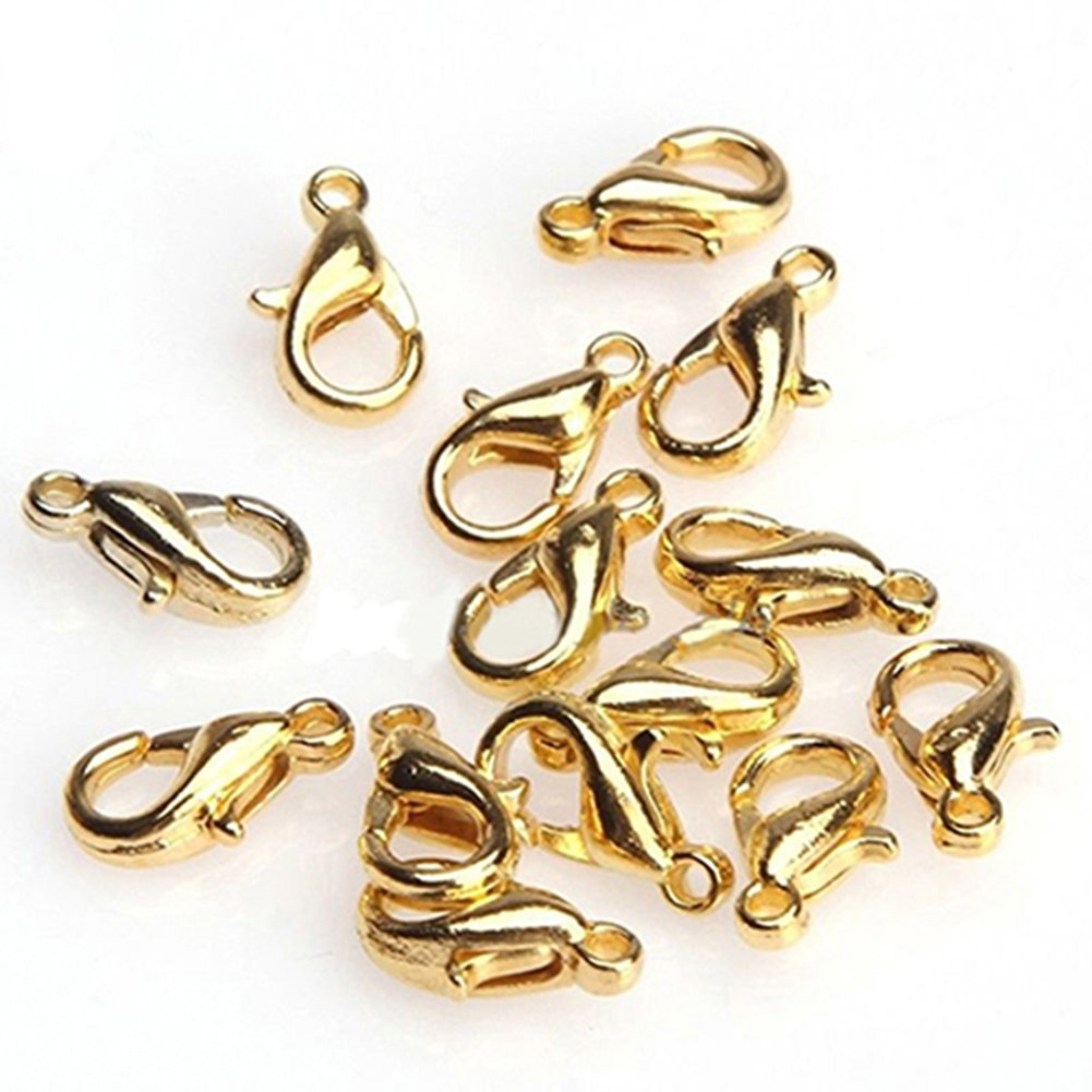 100Pcs 10mm 12mm Lobster Clasps for Jewelry Making Necklace Bracelet Findings San Bodhi