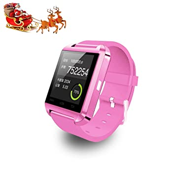 Reloj inteligente Relee Bluetooth Smart U8, reloj de pulsera compatible con iPhone, Android, Samsung, HTC, LG, rosa: Amazon.es: Deportes y aire libre