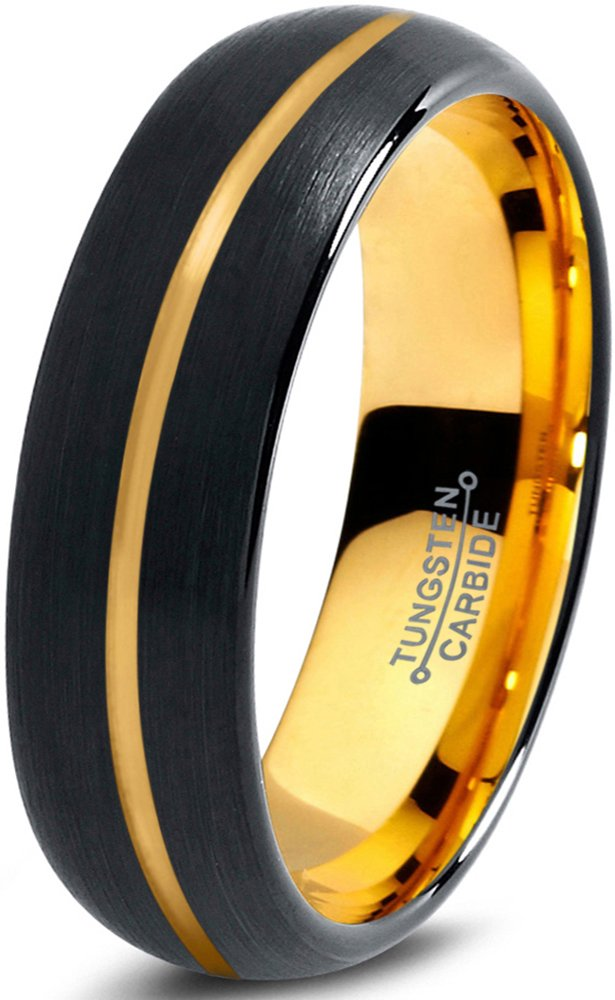 Midnight Rose Collection Tungsten Wedding Band Ring 6mm for Men Women Black & 18K Yellow Gold Plated Center Line Dome Brushed Polished